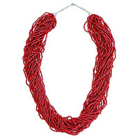 Dark-Red Coral 30-Strand Bead Necklace