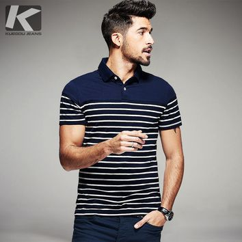 KUEGOU Summer Mens 100% Cotton Polo Shirts Striped Blue Black Brand Clothing Man's Slim Short Sleeve Clothes Plus Size Tops 7036