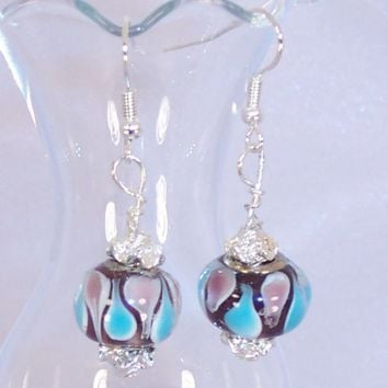 Dangle Earrings Blue Brown and Pink Glass Beads Lava lamp