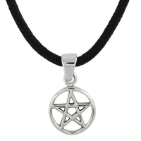 Small Pentacle Sterling Silver Pendant Necklace