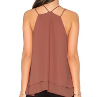 Sleeveless Tank Tops Double Strap Layered Chiffon Blouse