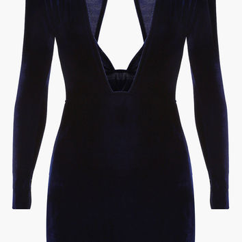 Deep Blue V Neck Velvet Bodycon Mini Dress