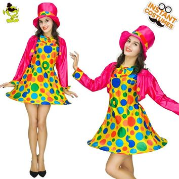 Women Colorful Clown Costumes Adult Funny Circus Girl Cosplay Costumes Halloween Masquerade Amusing Buffon Beauty Dress