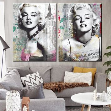 Canvas Prints Marilyn Monroe Portrait Canvas Art Home Decor Wall Art Wall Pictures American Actress Painting No Frame 2pcs