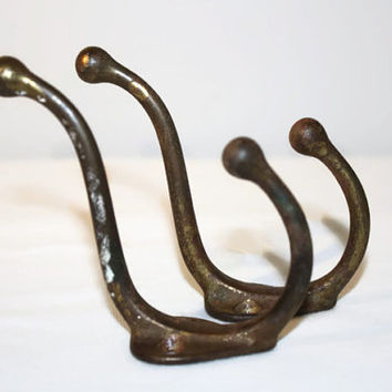 Pair of Rustic Metal Wall Mounted Double Hooks, Industrial Hardware