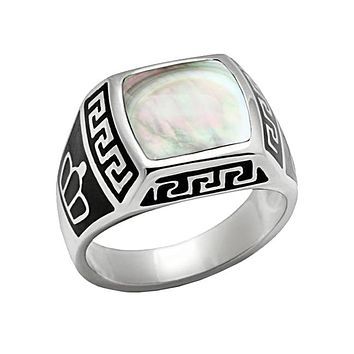 Mystical Stone - Stainless Steel Detailed Design Precious Stone Ring