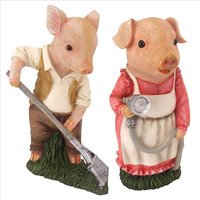 Park Avenue Collection S/2 Momma & Papa Gardener Pig Statues