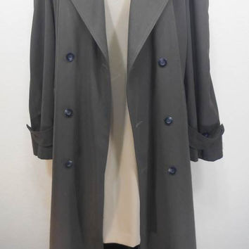Vintage, Made in USA, Men's Double Breasted Trench Coat (For Ladies Too), Botton Closure, Cuff Epaulettes,Belt, Pockets, Estimated Size XXL