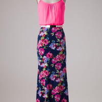 Neon Floral Maxi Dress - Pink