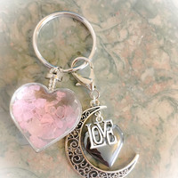 Rose Quartz Wishing Bottle / Hematite Grounding Heart, LOVE Moon Charms KeyRing Angel Energy, Healing Energy Infused. Valentine's Day Gift