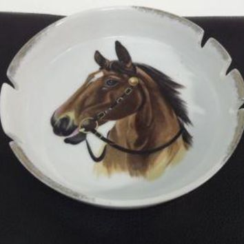 Vintage LARGE Brown Horse Head Ashtray w/ 5 Rests