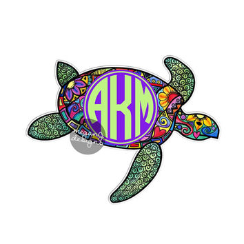 Custom Monogram Sea Turtle Sticker - Colorful Cute Car Decal Personalized Initial Laptop Bumper Sticker Ocean Hippie Boho Animal  Wall Decal