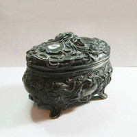 Antique Art Nouveau Metal Jewelry Casket - Jewelry Box Trinket - Repousse - Faces - Flowing Hair - Mucha - Goth -1900