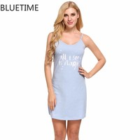 Female Letter Print Nightgown Sleep Lounge Summer Cotton Sexy Spaghetti Strap Nightwear Home Sleep Night Dress Women Clothes XXL