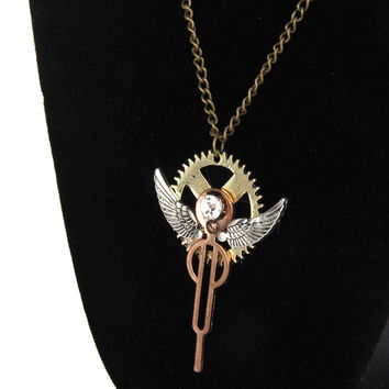 Vintage Retro Steampunk Angel Wings Gears Cog Pendant Chain Necklace Jewelry