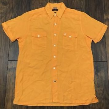 Nautica Linen Blend Bright Orange Button Up Shirt Menswear Mens Size L Large