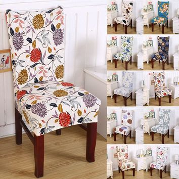 Pastoral Removable Floral Print Chair Cover Banquet Dining Room Seat Protector Slipcover Stretch Dining Chair Cover Home Decor