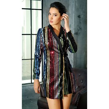 Nothing Can Stop Me Black Multicolor Sequin Stripe Pattern Long Sleeve Wrap Mini Dress