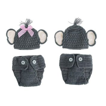 Newborn Baby Elephant Knit Crochet Hat Costume Photo Photography Prop Outfits Baby Girl Clothes Baby Boy Clothes