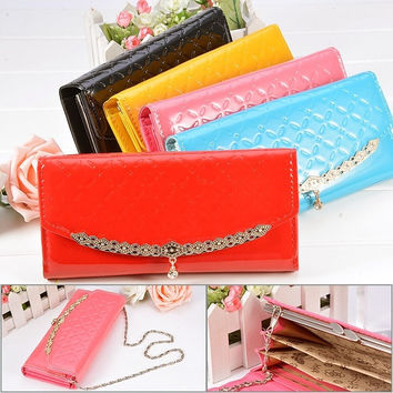 Fashion New Lady Synthetic Leather Long Wallet Clutch Handbag Button Chain Purse 7_S