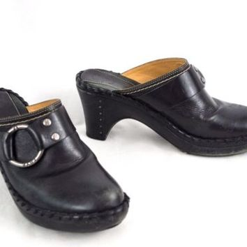Frye Leather Mules Shoes Clogs Black Belted 8 M Whip Stitch Edge Made in Brazil