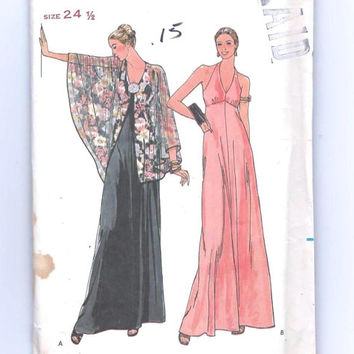 Evening Halter Dress & Capelet Pattern: Size 24 1/2, Bust 47 Butterick Uncut Sewing Pattern 6358
