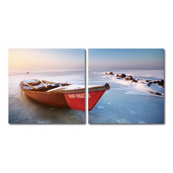 Seasonal Seashore Mounted Photography Print Diptych By Baxton Studio
