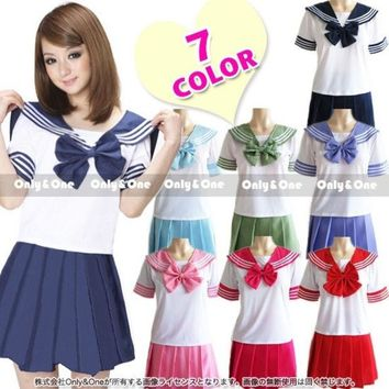 ONETOW 7 Colors Japanese Anime Sailor Style Student School Girl Costume Uniforms Dress = 1932351556