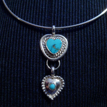 Authentic Navajo,Native American Southwestern sterling silver turquoise hearts pendant/necklace.