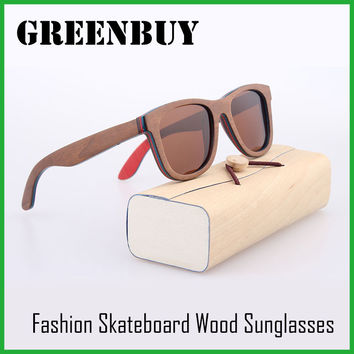 GREENBUY Brown Skateboard Wood Frame Sunglasses Polarized UV400 Lens Hand Polish Sustainable Wooden Retail Brand Men Glasses