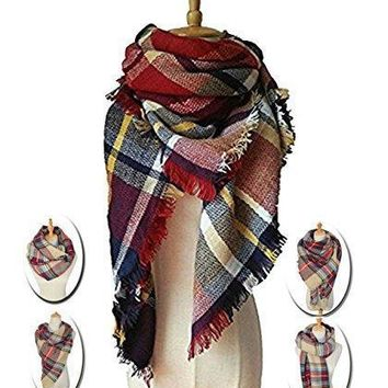 Lncropo Women's Plaid Scarf Winter Oversized Scarves Tartan Shawl Wrap Blanket Scarf Warm Tassels Pashmina Poncho Scarf