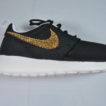 Blinged Black & White Girls' / Women's Nike Roshe Run by Glitzland