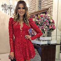 red lace long sleeve dress vestidos de venda = 1901197764
