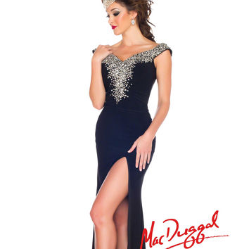 Mac Duggal 2014 Prom Dresses - Black Jersey & Beaded Off-the-Shoulder Prom Gown