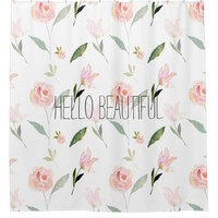 Hello Beautiful Watercolor Floral Shower Curtain