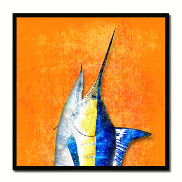 Swordfish Fish Head Art Orange Canvas Print Picture Frame Wall Home Decor Nautical Fishing Gifts