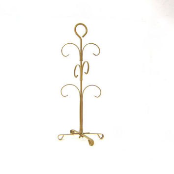Vintage 1970s mustard yellow gold metal 6 mug tree hanger / perfect for jewelry, necklaces, etc