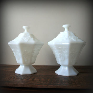 "ANTIQUE MILK GLASS Compote Dish Pretty ""Skim Milk"" White Glass Lidded 1940s Vintage Grape Leaf and Ivy Pattern Candy Bowls by Anchor Hocking"