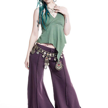 HIPPIE FLOW PANTS, psy trance trousers, extra wide flares, hippy flare pants, dance trousers, pixie clothing, goa tribal wear, lilac flares