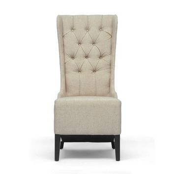 Baxton Studio Vincent Beige Linen Modern Accent Chair Set of 1