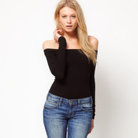 Knit Black Slim Long Sleeve Off Shoulder Boat Neckline T-Shirt _ 3420