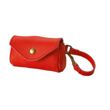 Dog Waste Bag Holder Red Italian Leather