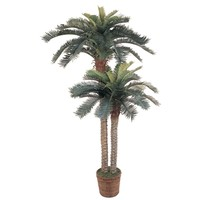 SheilaShrubs.com: 6' & 4' Sago Palm Double Potted Silk Tree 5033 by Nearly Natural : Artificial Flowers & Plants
