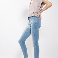 MOTO Light Blue Leigh Raw Hem Jeans - Leigh Jeans - Clothing