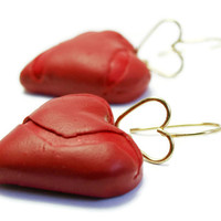 Red Hearts earrings, Polymer Clay Earrings, Polymer Clay Hearts, Brass Hearts, Brass Earrings, Handmade earring, Woman red hearts earrings