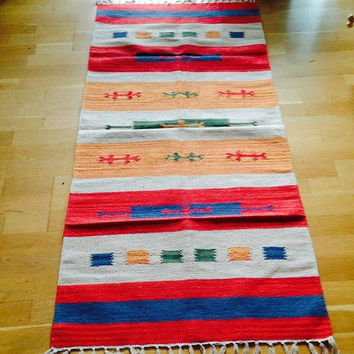 Handloom Dhurrie Carpet/ durrie/ durry Rug Carpet/ Mat - cotton Dhurrie /Indian Handloom/ durri rug carpet/ yoga mat / hand crafted / durry