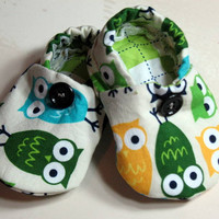 Baby Crib Shoes Boys Owls Green Yellow Blue by SouthernSeamsKids