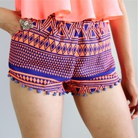 FESTIVALTRIBAL AZTEC PRINTS NAVY NEON ORANGE POM POM HEM BEACH SHORTS XS S M L