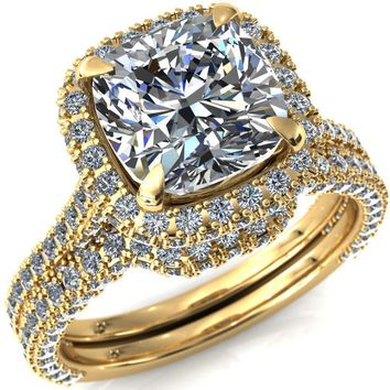 Taniya Cushion Moissanite 4 Claw Prong Halo 3/4 Eternity 3 Sided Diamond Shank Cathedral Engagement Ring