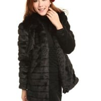 WIIPU women's faux fur slim outerwea overcoat rex rabbit hair outerwear(J318)